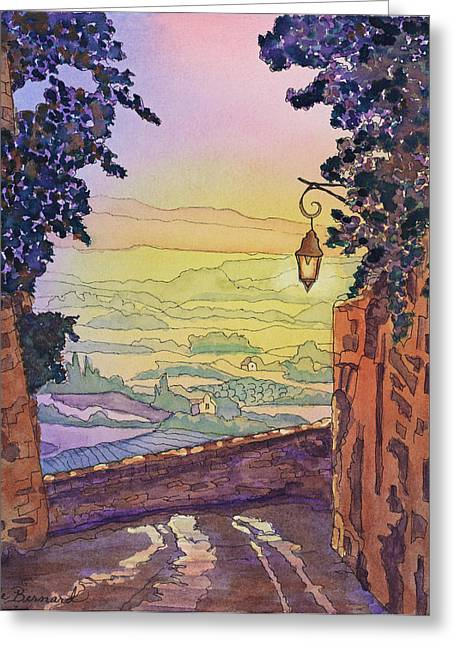 Pastoral Vineyard Paintings Greeting Cards - From A Distance Greeting Card by Dale Bernard