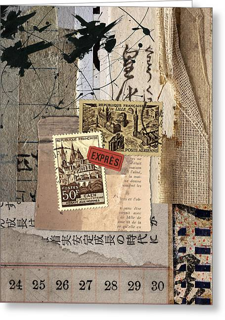 Rectangles Mixed Media Greeting Cards - From Books Greeting Card by Carol Leigh