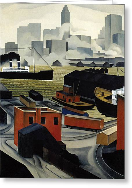 Red Buildings Greeting Cards - From Brooklyn Heights Greeting Card by George Ault