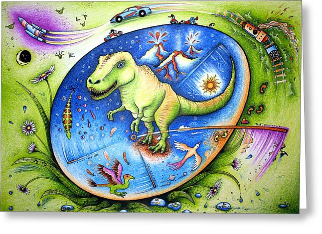 Stepping Stones Drawings Greeting Cards - Since the time of dinosaurs  Greeting Card by Ida  Novotna