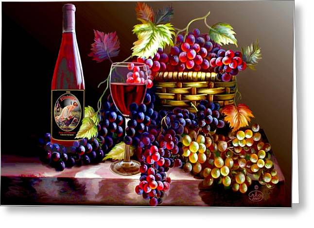 Still-life With A Basket Greeting Cards - From Grapes to Wine Greeting Card by Ronald Chambers
