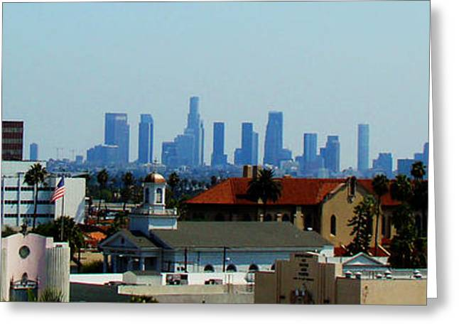 Down Town Los Angeles Greeting Cards - From Hollywood to Downtown Greeting Card by Leonard Johnson