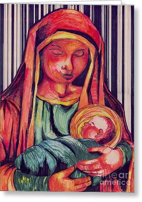 Baby Jesus Mixed Media Greeting Cards - From Humble Beginnings Greeting Card by Felix Reyes