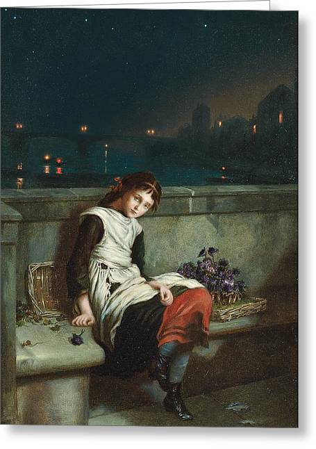 Impoverished Greeting Cards - From Morn Til Night Greeting Card by Augustus Mulready