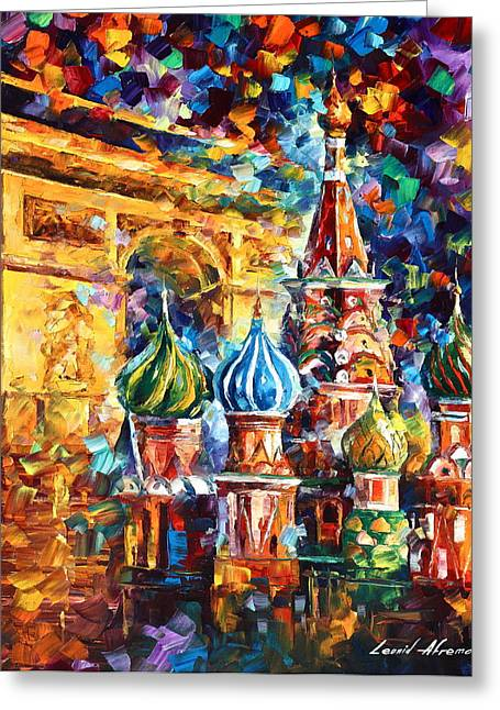 City Buildings Greeting Cards - From Moscow to Paris Greeting Card by Leonid Afremov