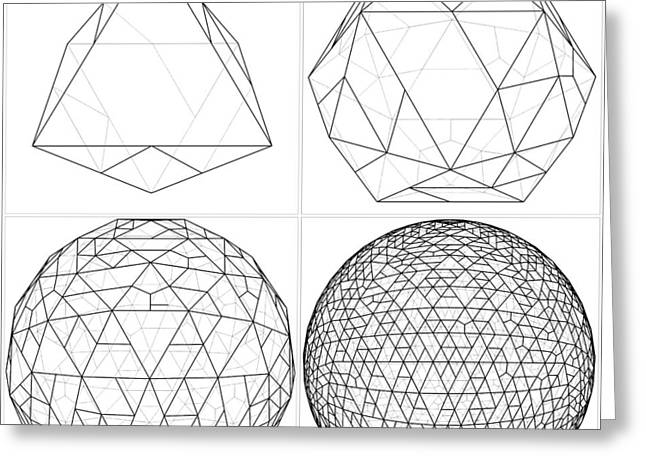 Dodecahedron Greeting Cards - From Octahedron To The Ball Sphere Lines Vector  Greeting Card by Nenad  Cerovic