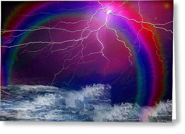 Photography Lightning Digital Greeting Cards - From Out of the Storm Comes the Rainbow Greeting Card by EricaMaxine  Price