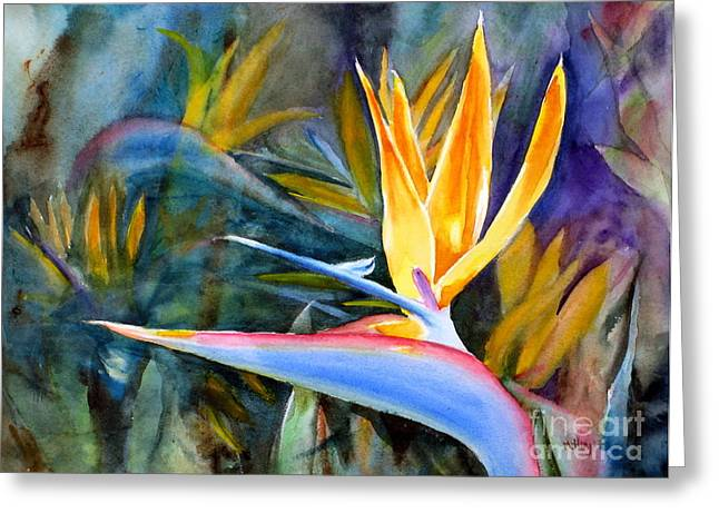 Strelitzia Paintings Greeting Cards - From Paradise Greeting Card by Mohamed Hirji