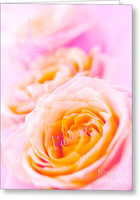 Rose Tower Greeting Cards - From Paris with Love Greeting Card by Irina Wardas