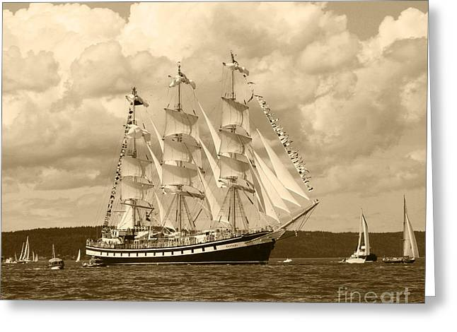 Ship In Sepia Greeting Cards - From Russia With Love Greeting Card by Kym Backland