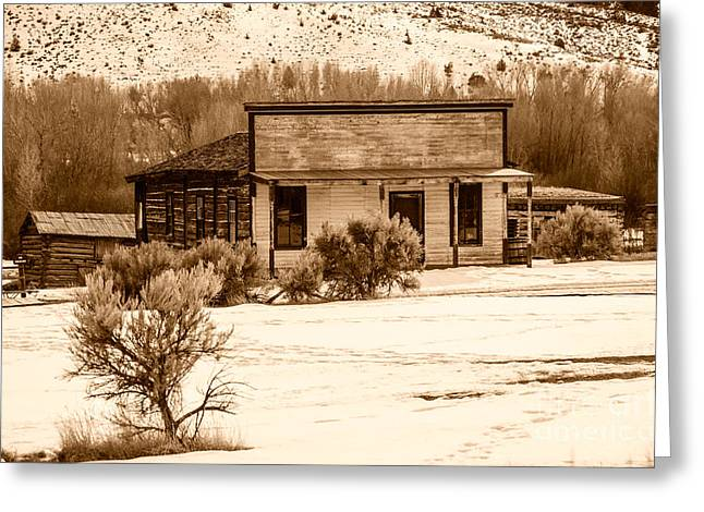 False Front Buildings Greeting Cards - From Saloon to Store Front and Home in Sepia Greeting Card by Sue Smith
