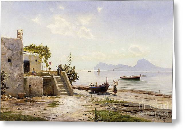 Water Vessels Greeting Cards - From Sorrento Towards Capri Greeting Card by Peder Monsted