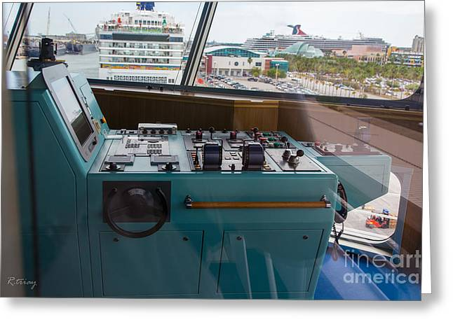 Captains Quarters Greeting Cards - From the Bridge Waiting for Departure Greeting Card by Rene Triay Photography