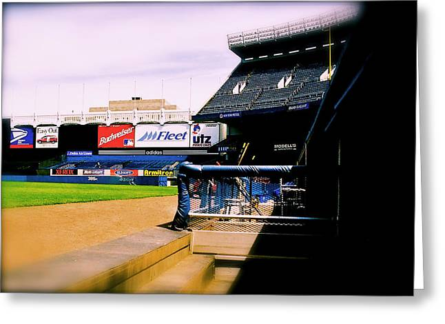 The Bronx Greeting Cards - FROM THE DUGOUT  The Yankee Stadium Greeting Card by Iconic Images Art Gallery David Pucciarelli
