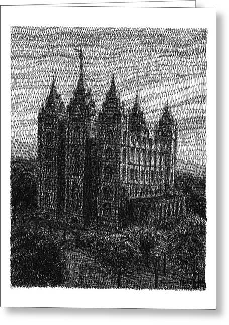 Salt Lake City Temple Drawings Greeting Cards - From the East  Greeting Card by Joseph Ballstaedt