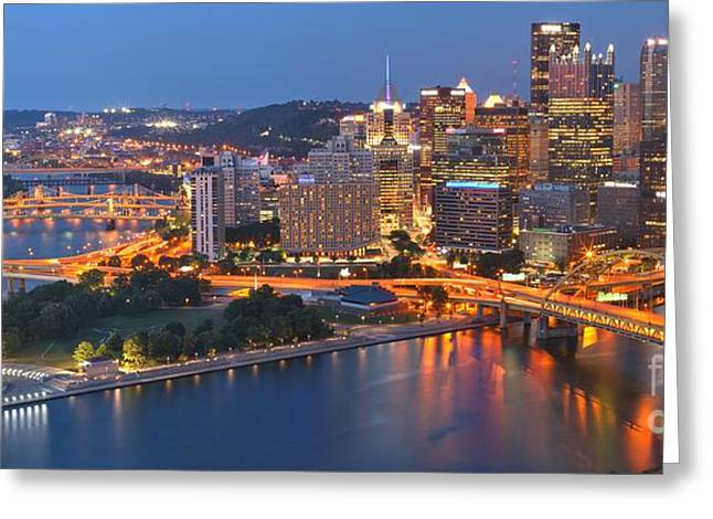 Duquesne Incline Greeting Cards - From The Fountain To Ft. Pitt Greeting Card by Adam Jewell