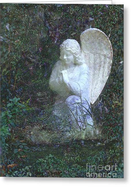 Jesus Mixed Media Greeting Cards - From the Hand of the Angel Greeting Card by Ella Kaye Dickey