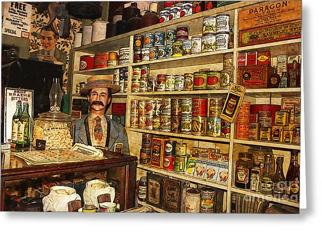 Local Food Greeting Cards - From the Past Colorado Grocery Store Greeting Card by Janice Rae Pariza