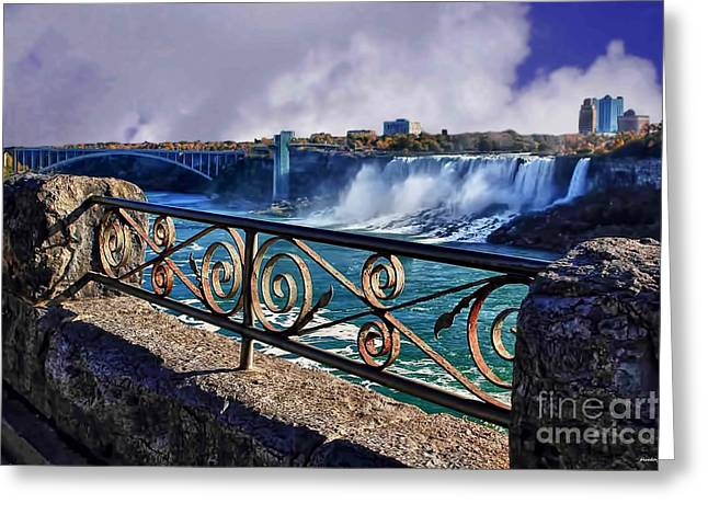 Nature And Landscape Photography Greeting Cards - From the rail-Niagara Falls Greeting Card by Tom Prendergast