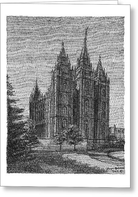 Salt Lake City Temple Drawings Greeting Cards - From the South Greeting Card by Joseph Ballstaedt