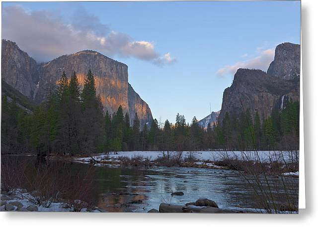 Yosemite Greeting Cards - From Valley View At Sunset Greeting Card by Mike Herdering