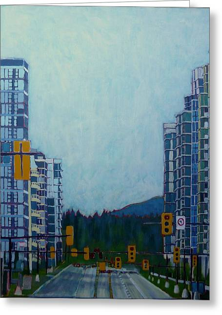 North Vancouver Paintings Greeting Cards - From Vancouver to the mountains Greeting Card by Sandrine Pelissier