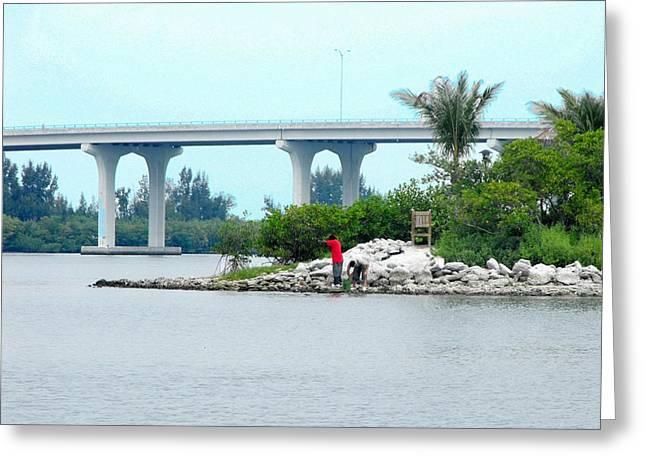 Florida Bridge Paintings Greeting Cards - From Veterens Island Greeting Card by Peni Baker