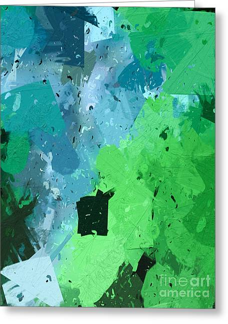 Geometric Effect Greeting Cards - From Winter Blues To Spring Greens Greeting Card by Heidi Smith