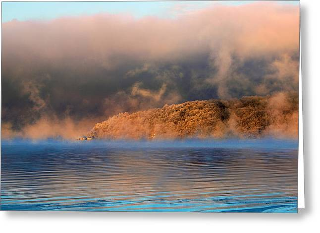 Keuka Greeting Cards - Frozen Bluff Point Greeting Card by Bob Magee