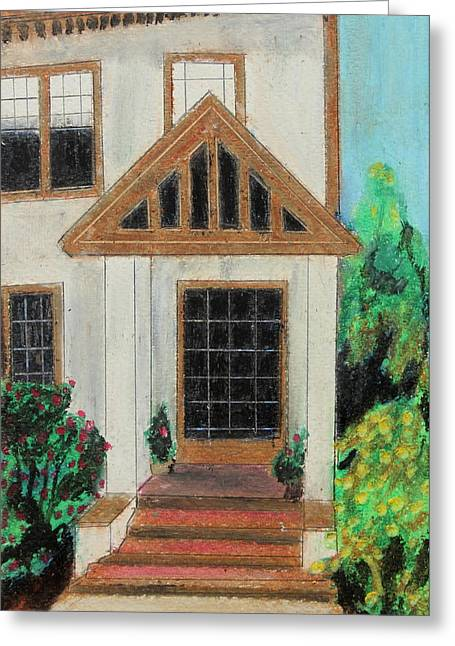 Residential Structure Pastels Greeting Cards - Front Door 1 Greeting Card by Jeanne Fischer