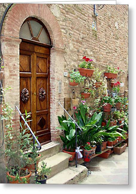 Front Steps Greeting Cards - Front Door Greeting Card by Ellen Henneke
