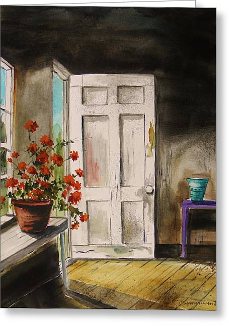 Red Geraniums Drawings Greeting Cards - Front Door Greeting Card by John  Williams
