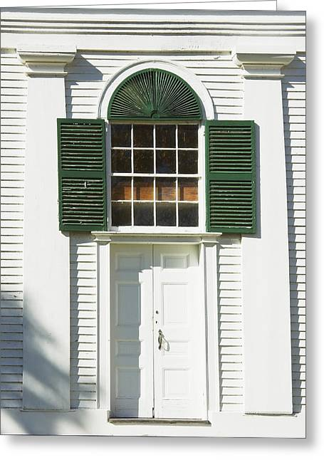 Traditional Doors Greeting Cards - Front Door Old Country Church In Maine Greeting Card by Keith Webber Jr