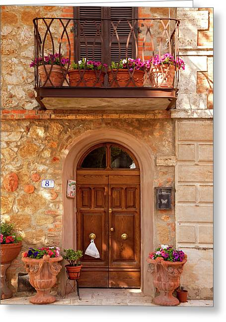 Front Door To Home In Ancient Town Greeting Card by Brian Jannsen