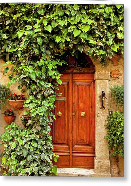 Front Door To Home In Medieval Village Greeting Card by Brian Jannsen