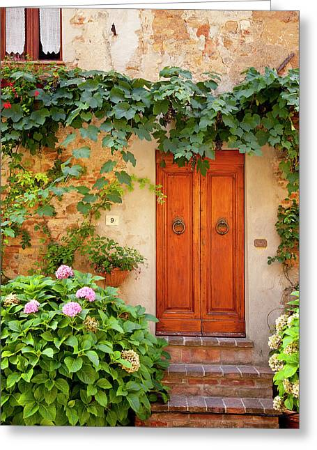 Front Door To Home In Pienza Tuscany Greeting Card by Brian Jannsen