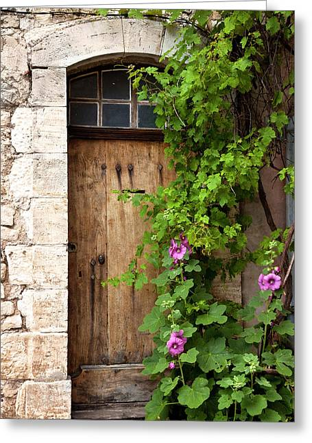 Front Door To Home In Sault, Provence Greeting Card by Brian Jannsen
