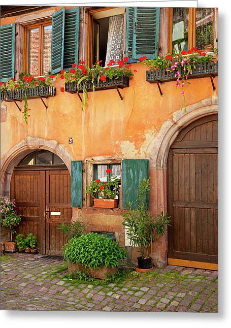 Front Doors To Home In Riquewihr Greeting Card by Brian Jannsen
