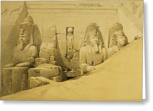 Ruins Paintings Greeting Cards - Front Elevation of the Great Temple of Aboo Simbel Greeting Card by David Roberts