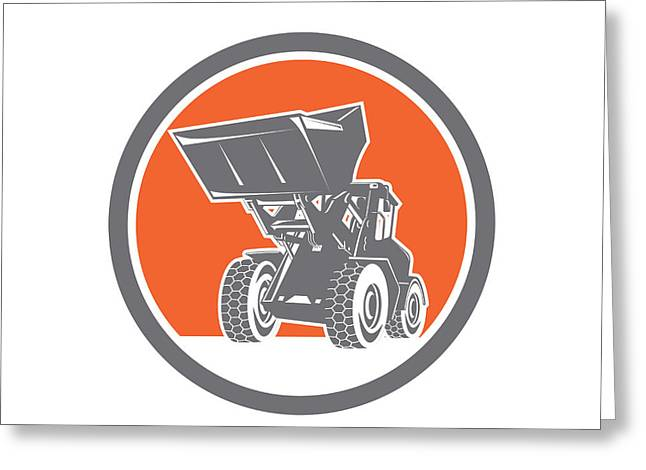 Front End Loader Greeting Cards - Front End Loader Digger Excavator Circle Retro Greeting Card by Aloysius Patrimonio