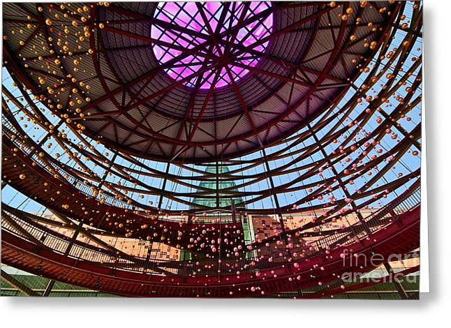 Front Entrance Greeting Cards - Front Entry Plaza of the California Science Center in Los Angeles Greeting Card by Jamie Pham