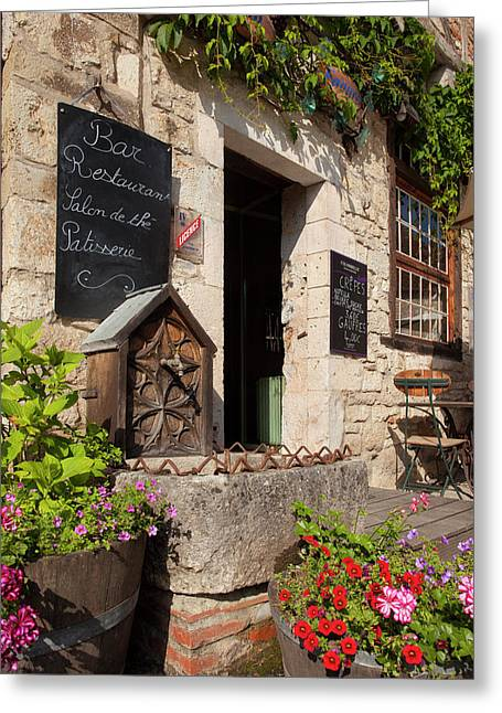 Front Entry To Cafe In Saint Cirq Greeting Card by Brian Jannsen