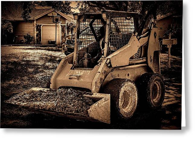 Dirt Pile Greeting Cards - Front loader-4 Greeting Card by Rudy Umans