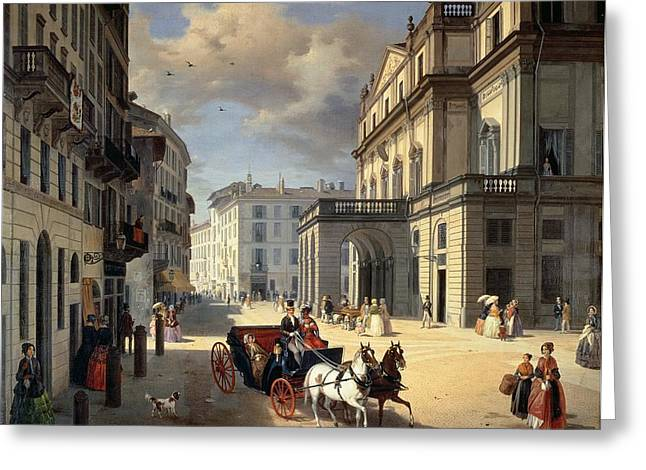 Front Of La Scala Theatre, 1852 Oil On Canvas Greeting Card by Angelo Inganni