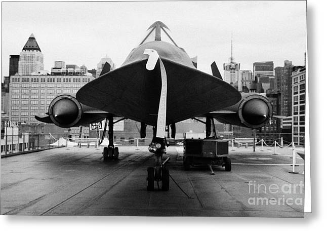 Manhatan Greeting Cards - front of Lockheed A12 Blackbird on display on the flight deck at the Intrepid Sea Air Space Museum Greeting Card by Joe Fox