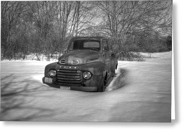 White Truck Greeting Cards - Front Of Old Timer Greeting Card by Thomas Young