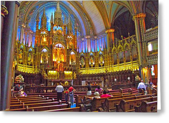 Qc Greeting Cards - Front of Sanctuary of Basilica Notre-Dame De Montreal-QC Greeting Card by Ruth Hager