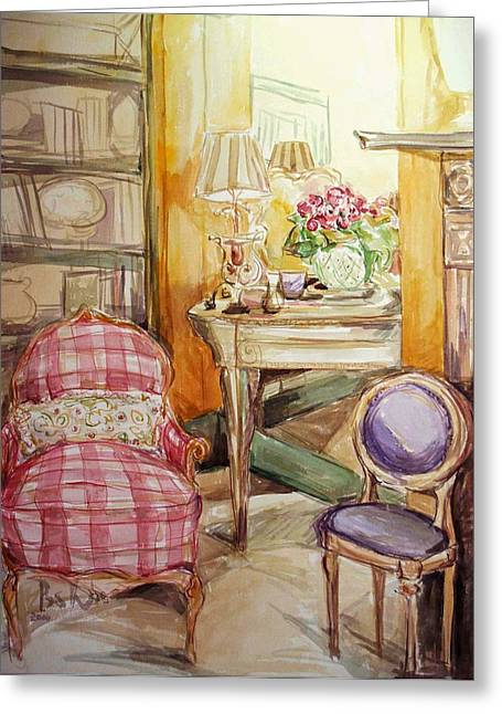 Indoor Still Life Paintings Greeting Cards - Front of the Mirror Greeting Card by Becky Kim