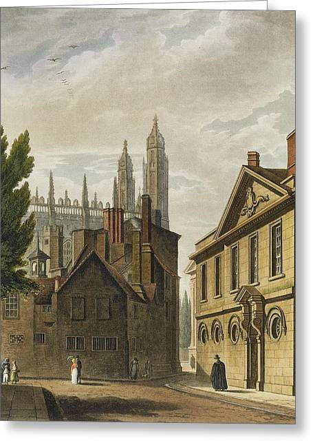 College Drawings Greeting Cards - Front Of Trinity Hall, Cambridge Greeting Card by Augustus Charles Pugin