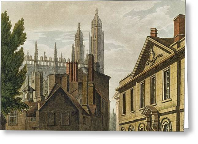 Front Of Trinity Hall, Cambridge Greeting Card by Augustus Charles Pugin